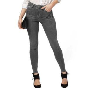 Topshop Moto Jamie High Rise Skinny Jeans Gray 28